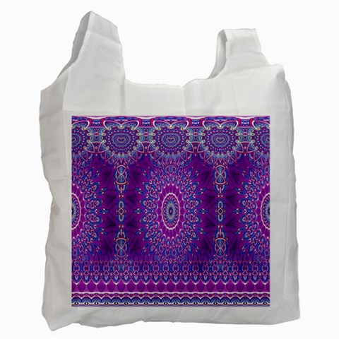 India Ornaments Mandala Pillar Blue Violet Recycle Bag (One Side)