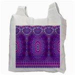 India Ornaments Mandala Pillar Blue Violet Recycle Bag (Two Side)  Back