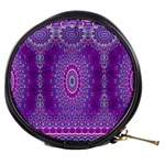 India Ornaments Mandala Pillar Blue Violet Mini Makeup Bags Front
