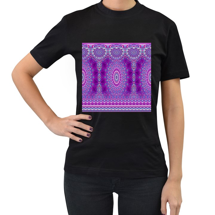India Ornaments Mandala Pillar Blue Violet Women s T-Shirt (Black)