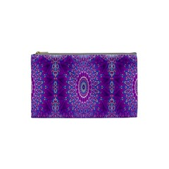 India Ornaments Mandala Pillar Blue Violet Cosmetic Bag (Small)