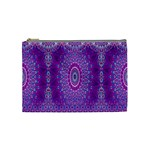 India Ornaments Mandala Pillar Blue Violet Cosmetic Bag (Medium)  Front