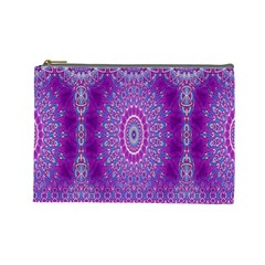 India Ornaments Mandala Pillar Blue Violet Cosmetic Bag (Large)