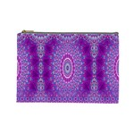 India Ornaments Mandala Pillar Blue Violet Cosmetic Bag (Large)  Front