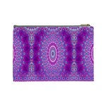 India Ornaments Mandala Pillar Blue Violet Cosmetic Bag (Large)  Back