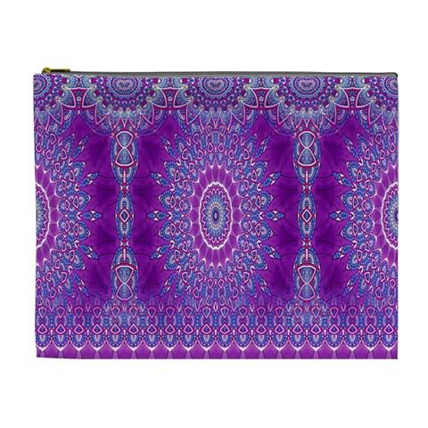 India Ornaments Mandala Pillar Blue Violet Cosmetic Bag (XL)