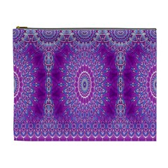 India Ornaments Mandala Pillar Blue Violet Cosmetic Bag (xl)