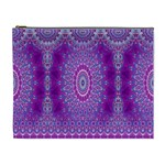 India Ornaments Mandala Pillar Blue Violet Cosmetic Bag (XL) Front