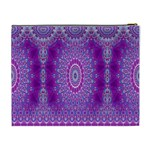 India Ornaments Mandala Pillar Blue Violet Cosmetic Bag (XL) Back