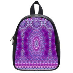 India Ornaments Mandala Pillar Blue Violet School Bags (small)