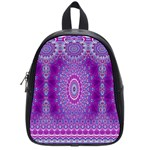 India Ornaments Mandala Pillar Blue Violet School Bags (Small)  Front