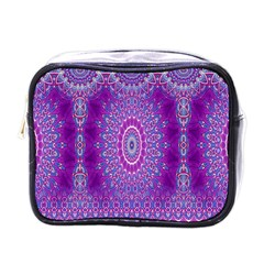 India Ornaments Mandala Pillar Blue Violet Mini Toiletries Bags