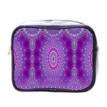 India Ornaments Mandala Pillar Blue Violet Mini Toiletries Bags Front