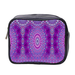 India Ornaments Mandala Pillar Blue Violet Mini Toiletries Bag 2-Side