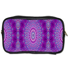India Ornaments Mandala Pillar Blue Violet Toiletries Bags 2-Side