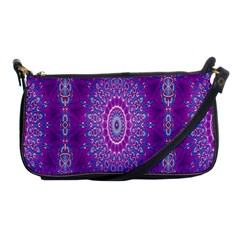 India Ornaments Mandala Pillar Blue Violet Shoulder Clutch Bags