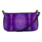 India Ornaments Mandala Pillar Blue Violet Shoulder Clutch Bags Front