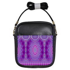 India Ornaments Mandala Pillar Blue Violet Girls Sling Bags