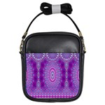 India Ornaments Mandala Pillar Blue Violet Girls Sling Bags Front