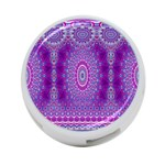 India Ornaments Mandala Pillar Blue Violet 4-Port USB Hub (One Side) Front
