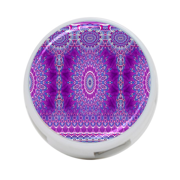 India Ornaments Mandala Pillar Blue Violet 4-Port USB Hub (One Side)