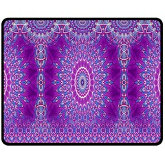 India Ornaments Mandala Pillar Blue Violet Fleece Blanket (Medium)