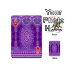 India Ornaments Mandala Pillar Blue Violet Playing Cards 54 (Mini)  Front - Heart5