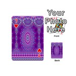 India Ornaments Mandala Pillar Blue Violet Playing Cards 54 (Mini)  Front - Heart7
