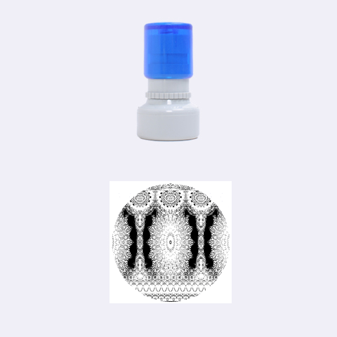 India Ornaments Mandala Pillar Blue Violet Rubber Round Stamps (Small)