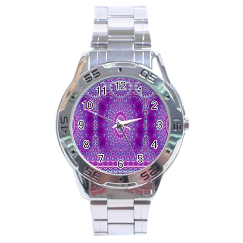 India Ornaments Mandala Pillar Blue Violet Stainless Steel Analogue Watch