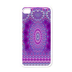 India Ornaments Mandala Pillar Blue Violet Apple iPhone 4 Case (White)