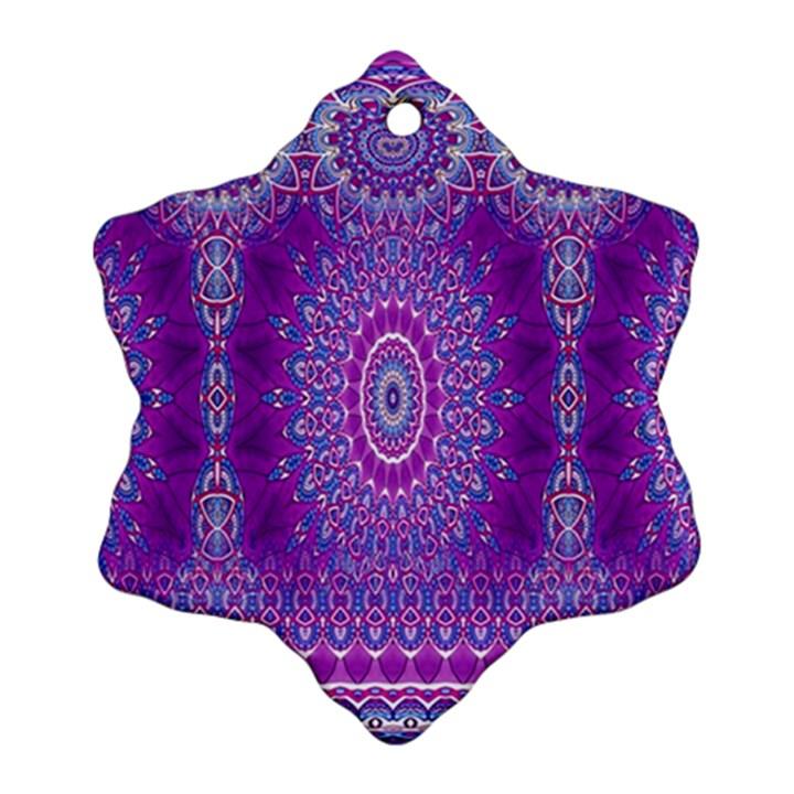 India Ornaments Mandala Pillar Blue Violet Ornament (Snowflake)