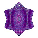 India Ornaments Mandala Pillar Blue Violet Snowflake Ornament (2-Side) Back