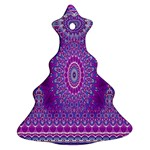 India Ornaments Mandala Pillar Blue Violet Christmas Tree Ornament (2 Sides) Back