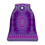 India Ornaments Mandala Pillar Blue Violet Bell Ornament (2 Sides) Back