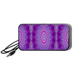 India Ornaments Mandala Pillar Blue Violet Portable Speaker (Black)  Front