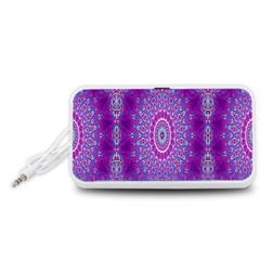 India Ornaments Mandala Pillar Blue Violet Portable Speaker (White)