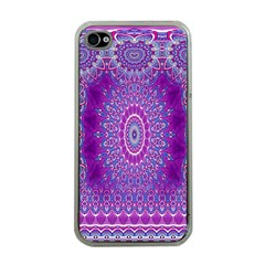 India Ornaments Mandala Pillar Blue Violet Apple iPhone 4 Case (Clear)