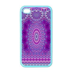India Ornaments Mandala Pillar Blue Violet Apple Iphone 4 Case (color)
