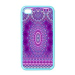 India Ornaments Mandala Pillar Blue Violet Apple iPhone 4 Case (Color) Front
