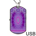 India Ornaments Mandala Pillar Blue Violet Dog Tag USB Flash (One Side) Front