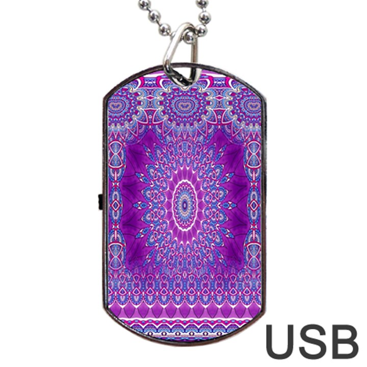 India Ornaments Mandala Pillar Blue Violet Dog Tag USB Flash (One Side)