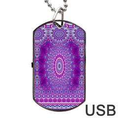 India Ornaments Mandala Pillar Blue Violet Dog Tag USB Flash (Two Sides)