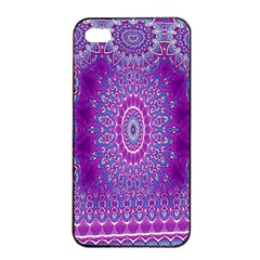 India Ornaments Mandala Pillar Blue Violet Apple iPhone 4/4s Seamless Case (Black)