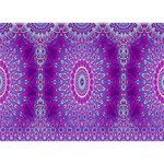 India Ornaments Mandala Pillar Blue Violet I Love You 3D Greeting Card (7x5) Back