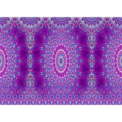 India Ornaments Mandala Pillar Blue Violet Birthday Cake 3D Greeting Card (7x5)