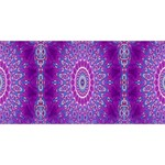 India Ornaments Mandala Pillar Blue Violet Happy New Year 3D Greeting Card (8x4) Back