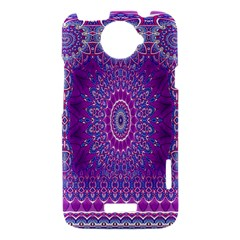 India Ornaments Mandala Pillar Blue Violet HTC One X Hardshell Case