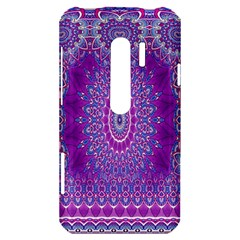 India Ornaments Mandala Pillar Blue Violet HTC Evo 3D Hardshell Case