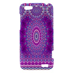 India Ornaments Mandala Pillar Blue Violet HTC One V Hardshell Case